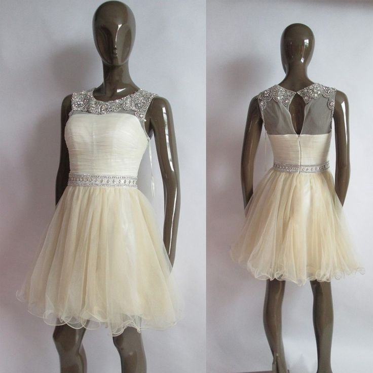 Handmade Beaded Short Evening Dress