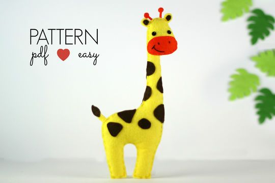 Create your own felt giraffe using my easy to follow, simple step by step instructions and felt giraffe sewing pattern. Everything is hand sewn at a basic level and you choose how you would like to use your giraffe. As a felt toy, Jungle baby mobile, garland, hanging ornament, cake topper... what ever you choose! USA