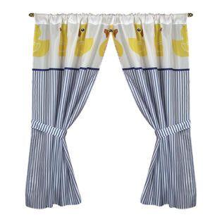 "Ducky 34""x54"" Fabric Window Curtain with Tie-Backs"