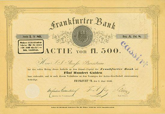 HWPH AG - Historische Wertpapiere - Frankfurter Bank / Frankfurt am Main, 01.06.1856, Gründer-Namensaktie über 500 Gulden, Serie I