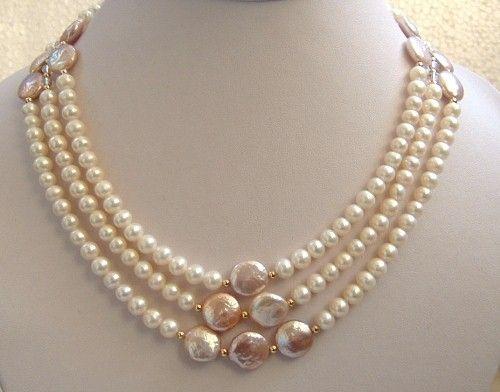 Elegant 3 strand freshwater & coin pearl necklace voy hacerlo con las planas marroned que tengo hace mucho buy @ michael store