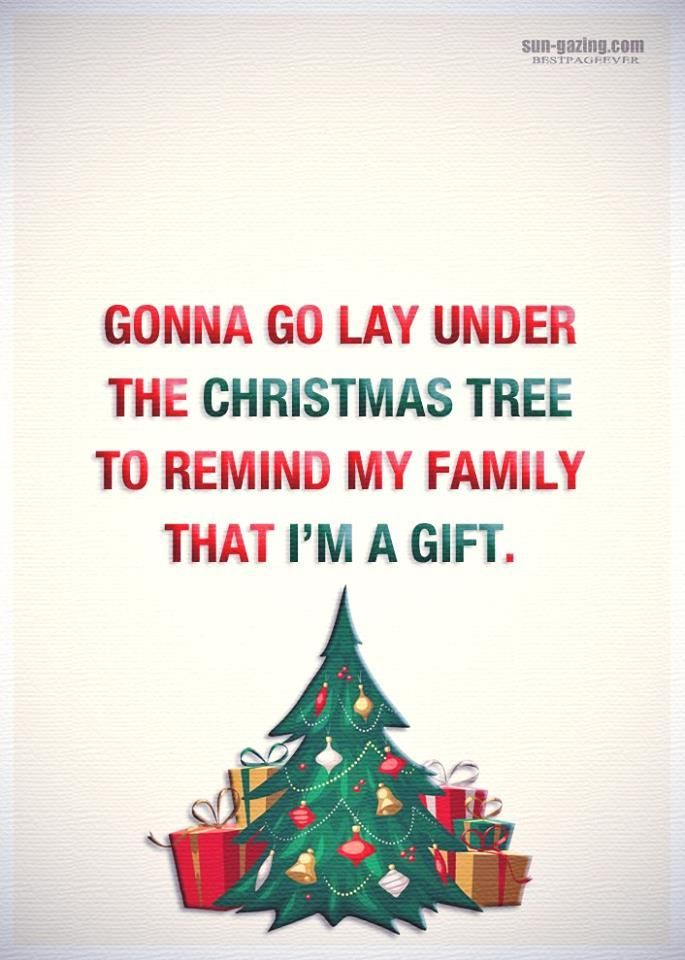 Gonna Go Lay Under The Christmas Tree To Remind My Family That I M A Gift Quotes Quote Life Christmas Quotes Funny Family Quotes Funny Family Christmas Quotes