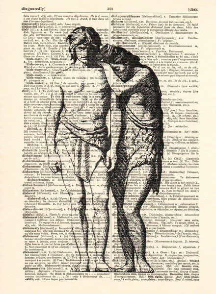 Wall Prints – Adam and Eve in paradise original 1906 art print – a unique product by Dictionary-vintage-book-page on DaWanda