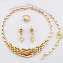 Elegant Gold Filled Jewelry Sets!Good Quality Guarantee!! African Fashion Luxury Women Necklace Drop earrings Bracelet Ring(China (Mainland))