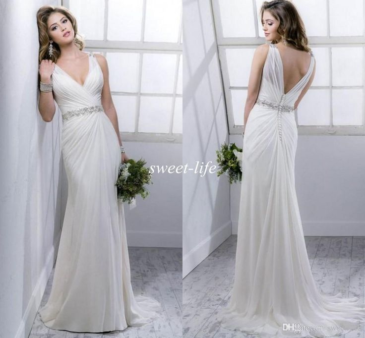 2016 Summer Beach Wedding Dresses Backless Sheer Deep V Neck Beads Chiffon Covered Button Sleeveless Sheath Sexy Garden Wedding Bridal Gowns Online with $116.03/Piece on Sweet-life's Store   DHgate.com