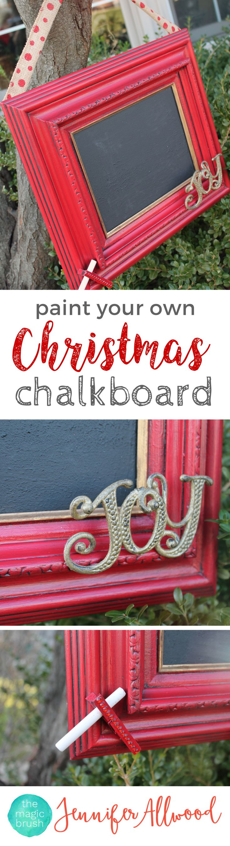 DIY Christmas Chalkboard Sign | The Magic Brush | These DIY painting projects make great personalized Christmas gifts. Easy to customize and fun to make!