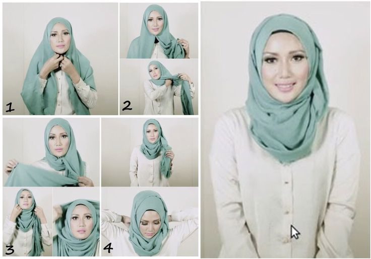 1- Place the hijab on your head and then use a safety pin and secure it under your chin. Make sure that your hijab has a neat folding edges.  2- Place right side longer than the left one of your hijab. Take the short side put to the right shoulder.  3- Wrap the long side  & adjust it on your head.  4- To make it look neater, you can insert it into the left shoulder. The rest can also be inserted into the back of the shirt to keep from falling when on the move.