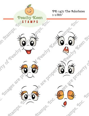 PK-1471 The Adorbsies 1-1/8th inch: Peachy Keen Stamps | Home of the original clear, peach-tinted, high-quality whimsical face stamps.