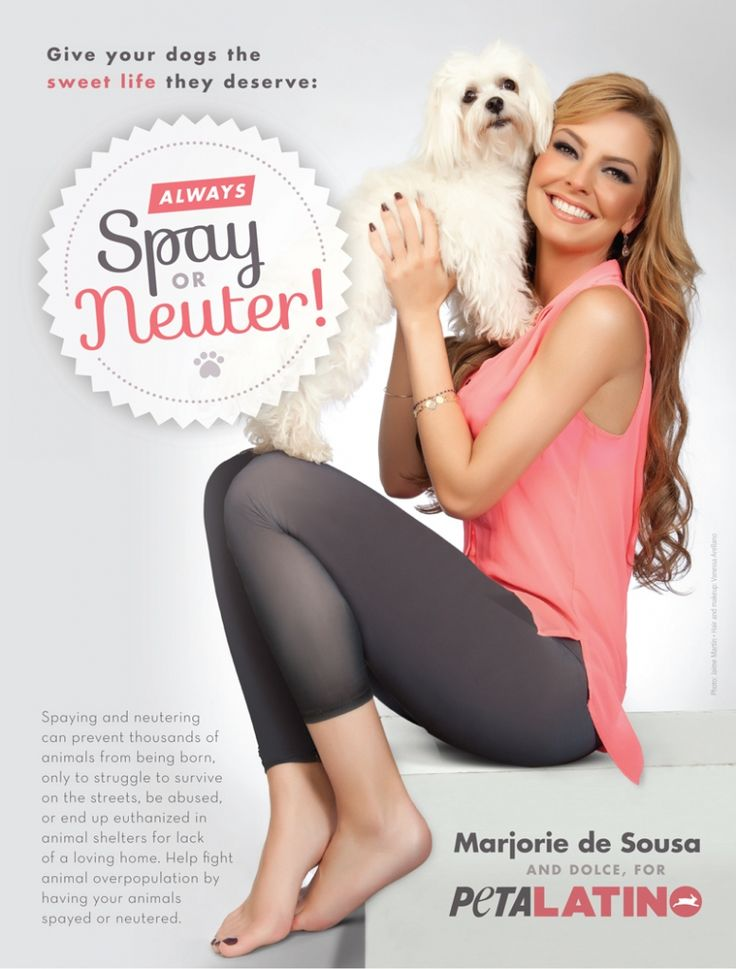 PETA Marjorie de Sousa. Help control the pet population. Have your pet spayed or neutered.