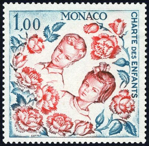 MONACO N° 606 CHARTE DES ENFANTS, ONU, ALBERT ET CAROLINE 1 F NEUF x TB
