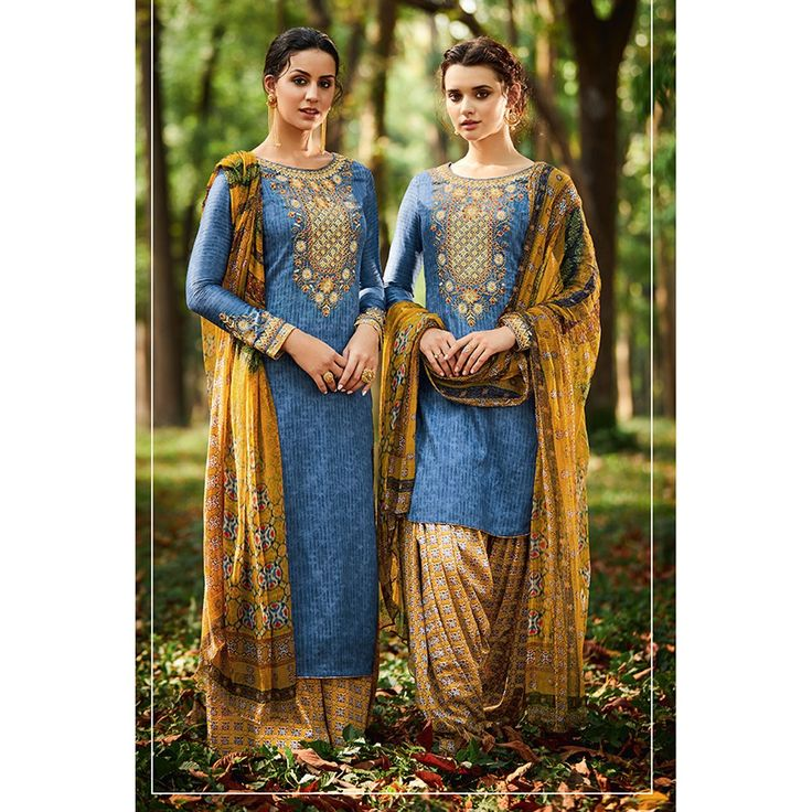 Blue Cotton And Satin Patiala Salwar Suit With Dupatta