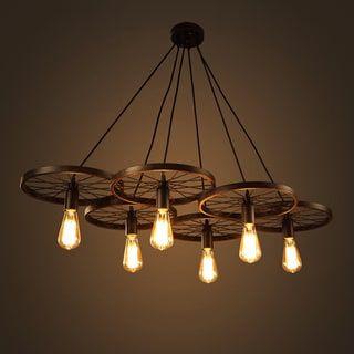Nathaniel 6-light Black 41-inch Edison Chandelier with Bulbs