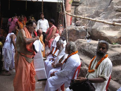 Invited Pundits and Devotees being attended to and honored by Sri Ganeswar Rath, 2012 Khandagiri Yajna, Bhubaneswar
