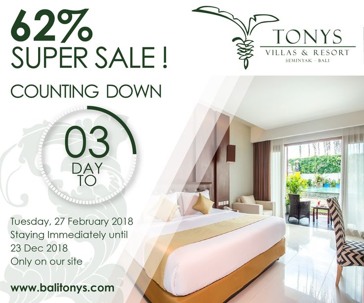 Be Ready! 3 days counting down for your secret price deal. Stay at the best accommodation in Seminyak with a nature ambience. Stay tuned. . . #Bali #Seminyak #deals #bestdeals #hotelsdeals #hotelpromo #supersale #sale #holiday #promotion #staydifferent #hotdeals #honeymoon #tonysvilla #balimagic www.balitonys.com