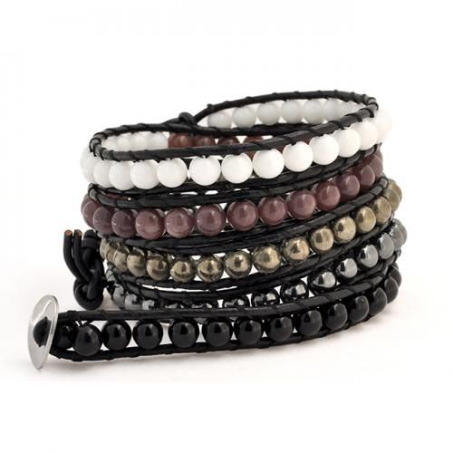 Onyx Gemstone Beads Multicolor Leather Wrap Surf Bracelet 41in