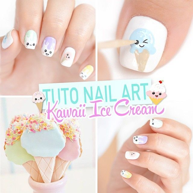 Kawaii Ice Cream Nail Art. Tutorial Included! https://noahxnw.tumblr.com/post/160711599916/hairstyle-ideas
