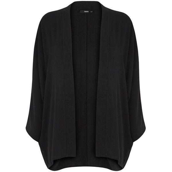 OASIS Plain Kimono Jacket ($32) ❤ liked on Polyvore featuring outerwear, jackets, black, oasis jackets, long kimono jacket, long jacket, kimono jacket and boho kimono jacket