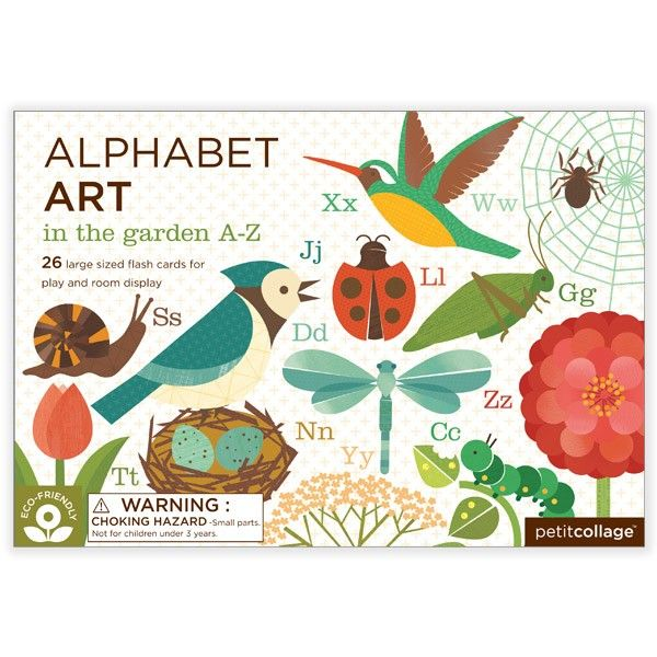 Petit Collage | In the Garden A - Z Alphabet Art Cards.