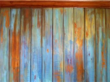 Distressed and weathered chalk painted wall / paneling by Julielee (Coastal Home and Garden in Palm Beach, Fl