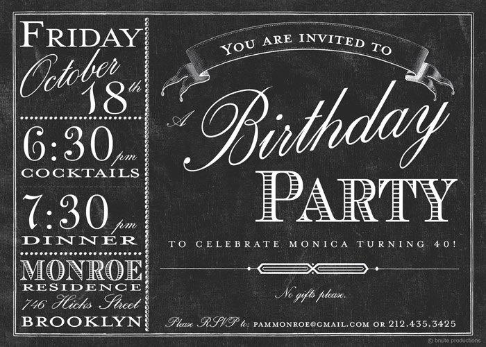 Chalkboard Bistro Menu Invitation - Birthday, Bridal or Wedding Shower, Baby Shower, Any Occasion. $16.00, via Etsy.