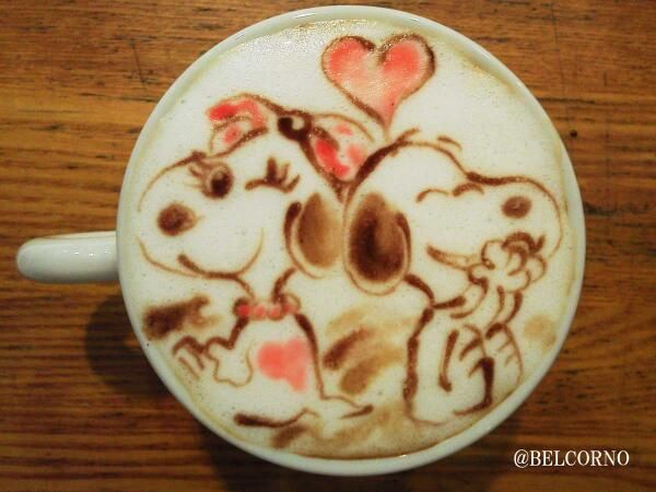 Snoopy and belle latte art