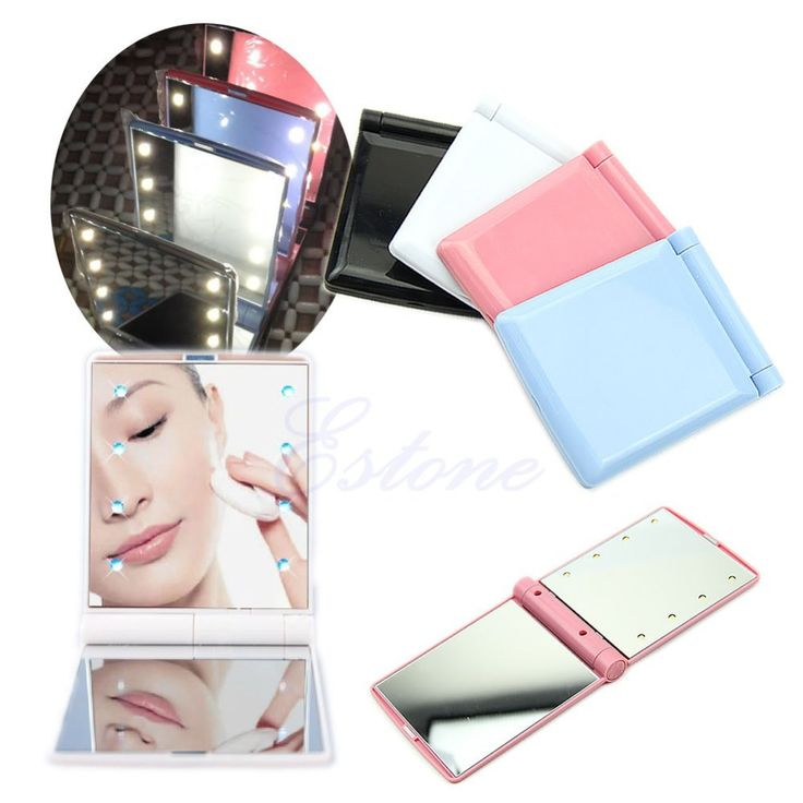 Find More Makeup Mirrors Information about W110 Lady Makeup Mirror 8 LED Lights Lamps Cosmetic Folding Portable Compact Pocket Mirror 4Colors,High Quality mirror,China mirror keychain Suppliers, Cheap mirror apple from co-co fashion store on Aliexpress.com