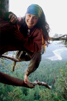 Julia Butterfly Hill, lived in a tree for over two years to save the redwood forest.