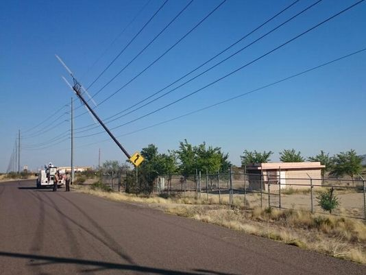 Cell tower falls on power lines in Wittmann
