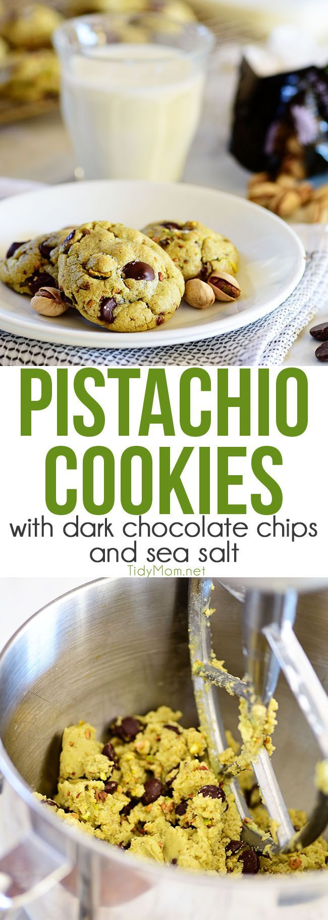 Pistachio cookies are sure to become a favorite! Perfect for St. Patricks Day, Easter, Christmas or any day. These deliciously soft pudding cookies are buttery and salty with dark chocolate chunks that pairs perfectly with chopped pistachios. I bet you can't eat just one! Get the full printable recipe at TidyMom.net