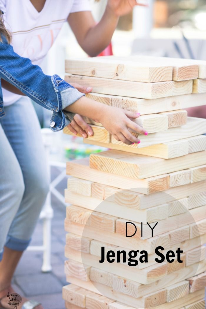 An easy tutorial showing you how to DIY a large Jenga game set! Perfect for outdoor block parties. Super inexpensive to make, on dreambookdesign.com