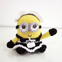 "French Maiden Minion - Free Amigurumi Pattern ( PDF click ""download"" or ""free Ravelry download"")  http://www.ravelry.com/patterns/library/amigurumi-frenchie-the-2-eyed-minion-in-a-french-maid-outfit"