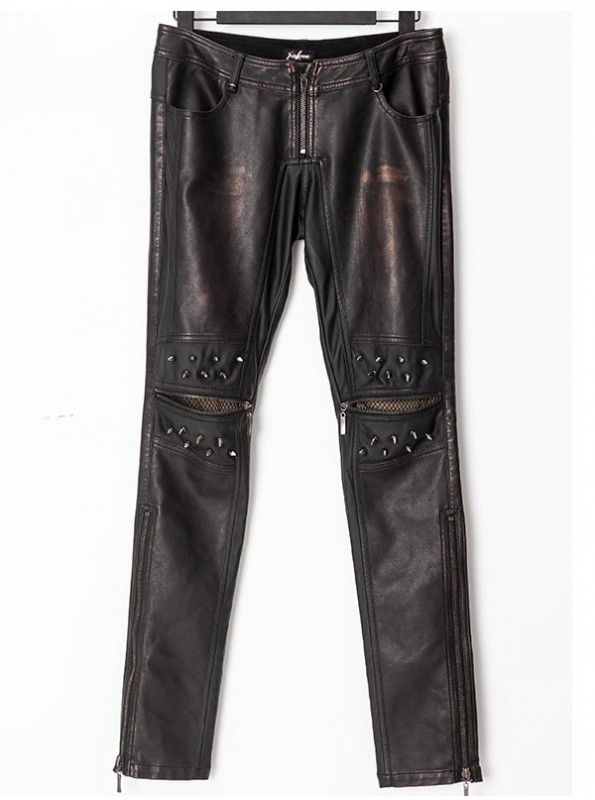 MENS BRONZE LEATHER PANTS WITH HEAVY METAL AWL NAILS! This is a pant that you should never let go,Get it now at: goo.gl/lF2JIx