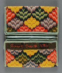 Man's Pocketbook  Made in Philadelphia, Pennsylvania, United States, North and Central America    c. 1760    Made for George Gray, Gray's Ferry, Philadelphia, American, 1725 - 1800    Linen plain weave with wool embroidery in Irish and cross stitches; silk plain weave, card, wool twill tape  Opened: 8 1/4 x 7 1/8 inches (21.0 x 18.1 cm)