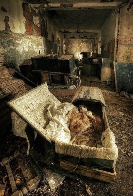 One of the most interesting things about exploring abandoned homes is imagining what the occupants were like from what they left behind...but...an open casket???