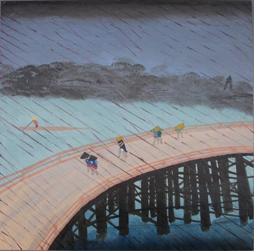 Sudden shower inspired by the Japanese woodblock print master Hiroshige's image