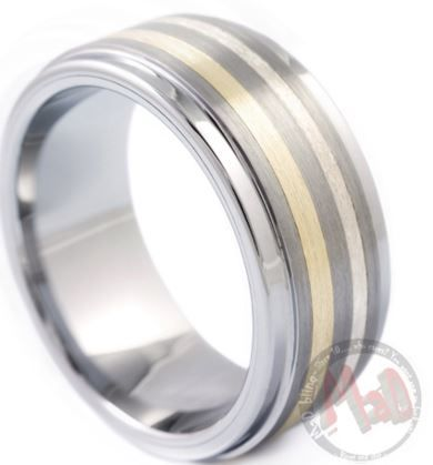 Find the perfect combination of gold and tungsten in a single ring