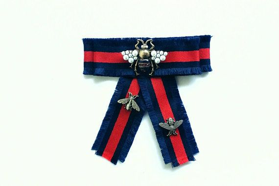 4416a367 Luxurious handmade Gucci inspired red and navy blue bow brooch with ...