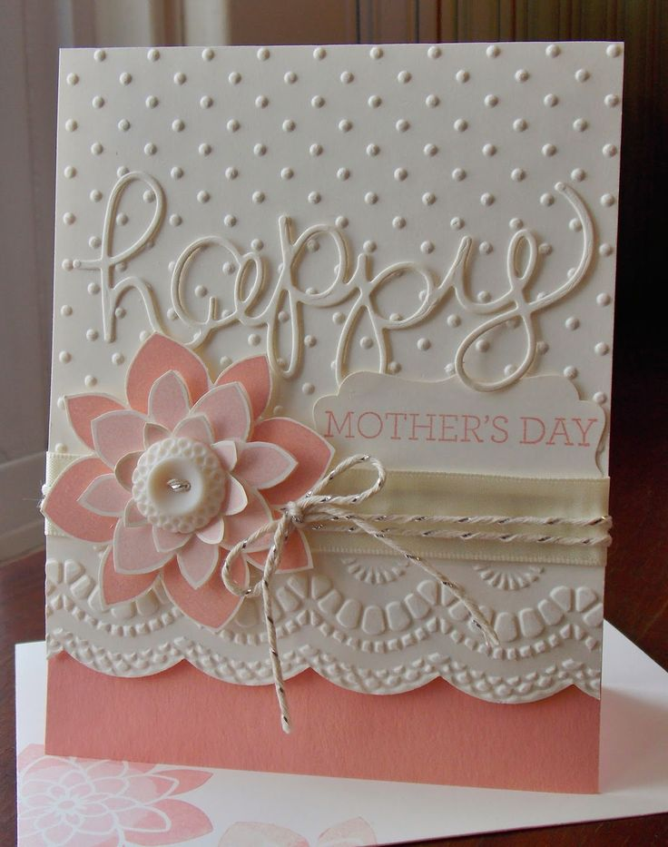 Stampin' Up! ... hand crafted card from Laura's Works of Heart: CRAZY ABOUT YOU ... white and cantaloupe ... lots of texture .. die cut layered flower and HAPPY ... embossing folder dots and big scallop border ... great card!