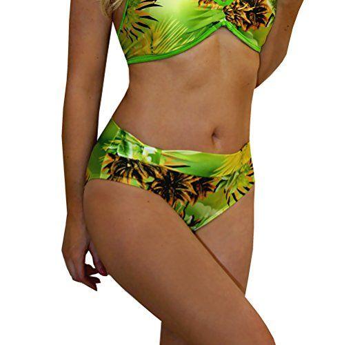 Hawaiian Green Full Coverage Halter Bra Bikini Top at Amazon Women's Clothing store: Fashion Bikini Tops