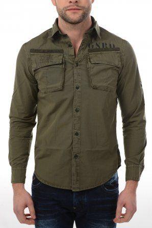 G-Star shirt Duck Roll-Up Shirt Smoke Green 8 Smoke Green » JeansandFashion.com #JeansandFashion #Gstar