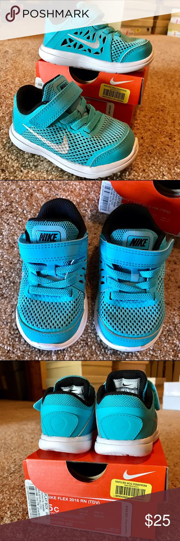 NEW Nike Toddler walking shoes 5 New Nike turquoise walking shoes in toddler size 5.  Stretch tie with Velcro closure.  White soles.  Silver metallic Swoosh.  Black padded ankle support. Nike Shoes Baby & Walker