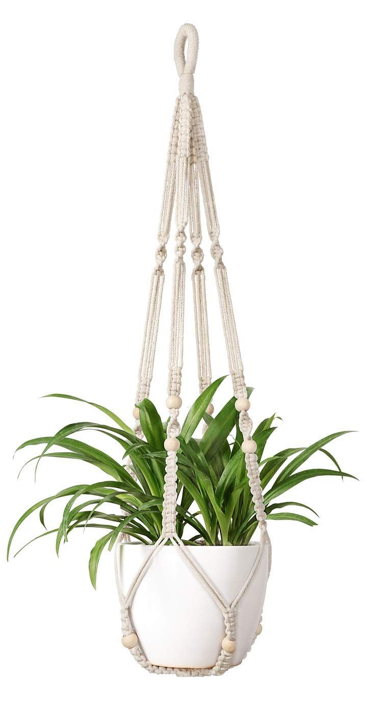 Mkouo Macrame Pot Suspendu Indoor Suspension Plante Panier Pot De Fleur En 2020 Supports Pour Plantes En Macrame Pots De Fleurs Decores Plantes D Interieur Suspendues
