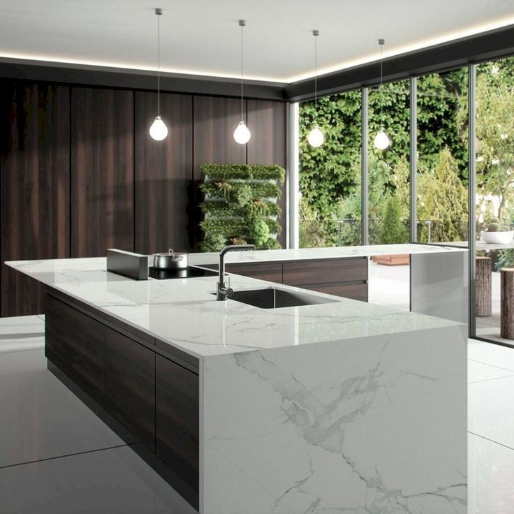Gorgeous modern design minimal kitchen with great floor to ceiling windows