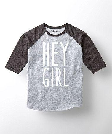 Look what I found on #zulily! Athletic Heather & Black 'Hey Girl' Raglan - Toddler & Boys #zulilyfinds