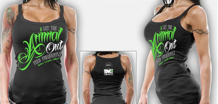 """Black TankTop for the women who like to style with flip-flops after a long day of working out at the gym. The """"Animal Out: Feed Frequently"""" artwork is on the front, while the Monsta """"Made in the USA"""" is on the back."""
