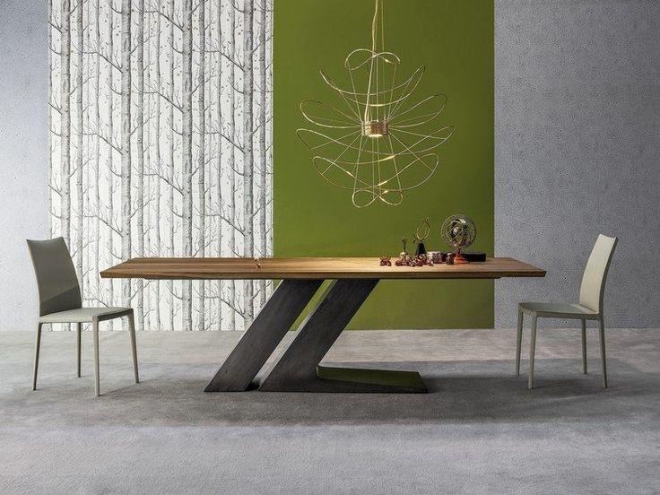 table à manger sur pied central TL par Bonaldo avec plateau en bois