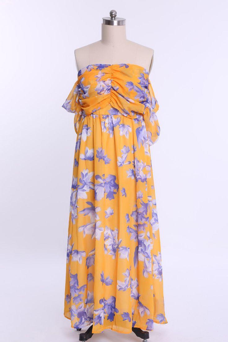 Bohemian Floral Print Strapless Maxi Dress For Women #shoes, #jewelry, #women, #men, #hats