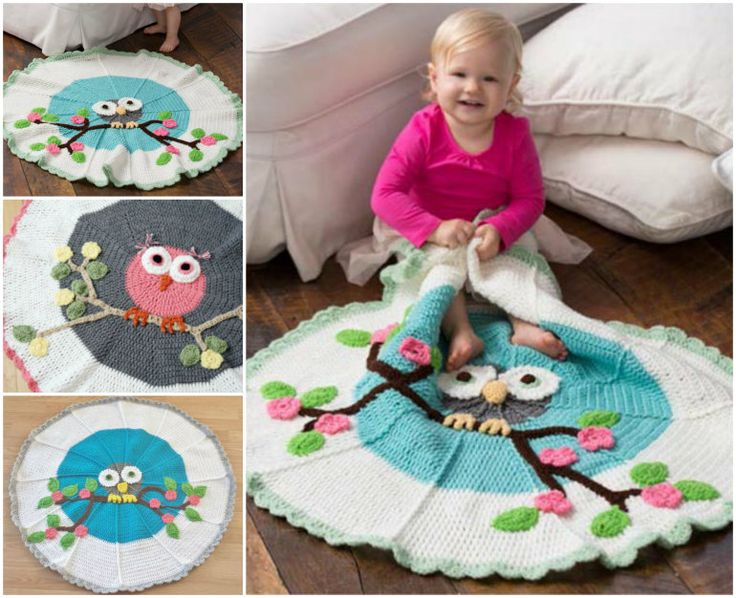 "I love this gorgeous crochet owl blanket project .This special blanket features a whimsical owl perched on a tree branch. How adorable and creativity ! You can put it on the floor or use it as a wall hanging decorate. Crochet it for a cutie in your life! Click here for Free Pattern from ""Red Heart""Click here for Crochet-daisy-flower-blanket"