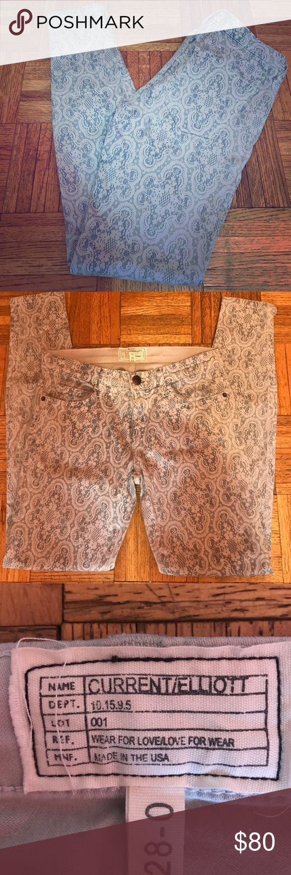 """Current/Elliot Lace Print Skinny Jeans Size 28-0 Current/Elliot gray Lace Print Skinny jeans. They are low rise and ankle skinny. In great condition. Size 28-0... Inseam approximately 29"""" Current/Elliott Jeans Skinny"""