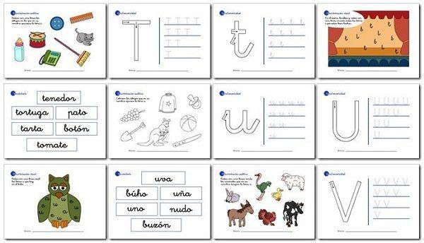 Actividades de lectoescritura para niños de 5 años y primer grado t, u, v, w, x, y, z.